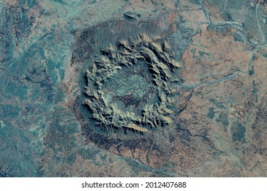 Gosses Bluff Impact Crater looking down aerial view from above, bird's eye view Gosses Bluff Crater, Northern Territory, Australia