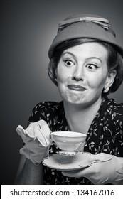 Gossiping tea party woman