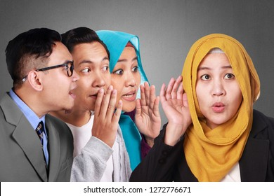 Gossips or rumors spreads among people, man and woman tells secrets, whispering and listening, hoax concept