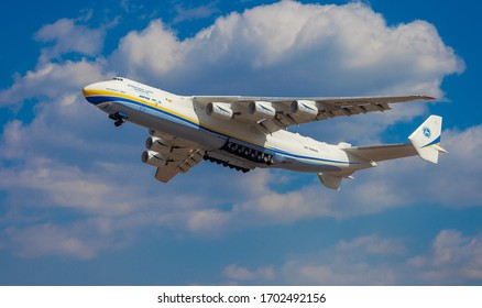 Gostomel, Ukraine - April 11, 2020: The plane Antonov 225 AN-225 Mriya, the biggest airplane in the world taking off from the airport. UR-82060 largest aircraft flying in the sky. Kyiv (Kiev)