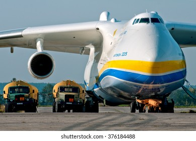 Gostomel, Ukraine - September 28, 2012. Antonov 225 Mrya fueling by two heavy-vehicle fuel tankers.