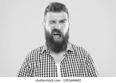 I got you. Art of negotiations. Man try to persuade you in something. Hipster charismatic speaker try to persuade. Public talk and art of persuade. Wink is symbol of pretend understanding.