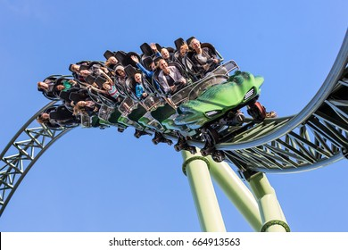 Goteborg, Sweden - 11 Sep, 2016: Young people screaming during a ride at Liseberg roller coaster Helix.