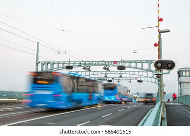 Goteborg, Sweden - 16 Sep, 2016: Heavy morning traffic with buses and trams on a bridge in Gothenburg.