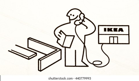 Goteborg, Sweden - April 16, 2016: Photo from IKEA's instructions for furniture assembling. IKEA is the world's largest furniture retailer and its products is assembled by thousands every day.