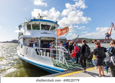 Goteborg, Sweden - Aug 05, 2017: Alvsnabben, local ferry transportation over Gota river transporting people from mainland to Hisingen island.