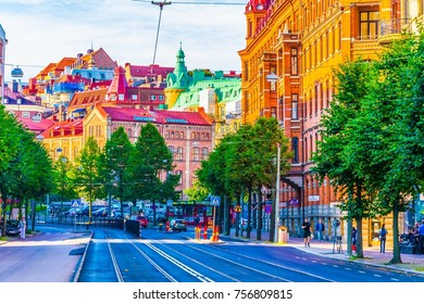 GOTEBORG, SWEDEN, AUGUST 25, 2016: View of a street in Goteborg, Sweden.