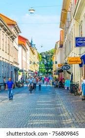 GOTEBORG, SWEDEN, AUGUST 25, 2016: View of the haga street in Goteborg, Sweden.