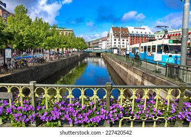GOTEBORG, SWEDEN  - AUGUST 3: Water canal in centre of city Goteborg on August 3, 2012 in Goteborg