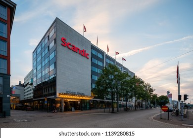 Goteborg, Sweden - July 21, 2018: Scandic Hotel Europa in Gothenburg city late evening. Scandic is a Swedish hotel chain company with main operations in the Nordic countries.