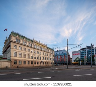 Goteborg, Sweden - July 21, 2018: Three of the large hotels located close to the railway station in central Goteborg photographed a late summer evening.