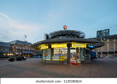 Goteborg, Sweden - July 21, 2018: Pressbyran store at Drottningtorget in Goteborg, Pressbyran chain is one of swedens most known convenience store chain in Sweden.