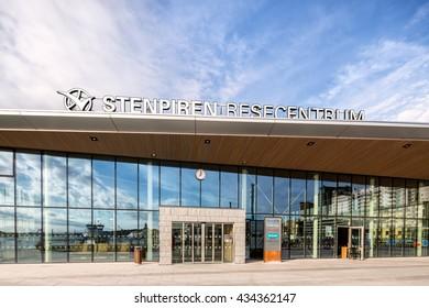 Goteborg, Sweden - May 13, 2016: Stenpiren, new travel center in Gothenburg for buses, tram and ferries.