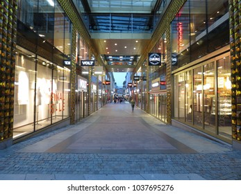 GOTEBURG, SWEDEN - CIRCA AUGUST 2017: city centre streets with stores and shopping malls