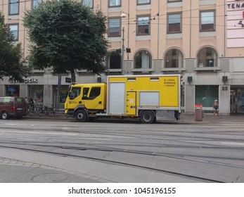 GOTEBURG, SWEDEN - CIRCA AUGUST 2017: yellow maintenance van of Goteborg public transport reading vi satter Goteborg i rorelse (meaning We put Goteborg in motion)