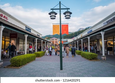 GOTEMBA, JAPAN - 25 OCT, 2018 : Tourists visit and shopping at Gotemba Premium Outlets. This is an outlet mall located in Gotemba, Shizuoka, Japan, near Mount Fuji.
