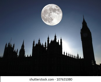 Goth night view silhouette with full moon of the Houses of Parliament Westminster Palace London