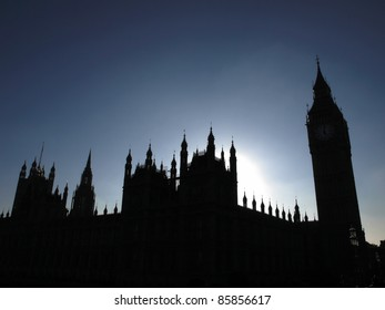 Goth night view silhouette with moon light of the Houses of Parliament Westminster Palace London
