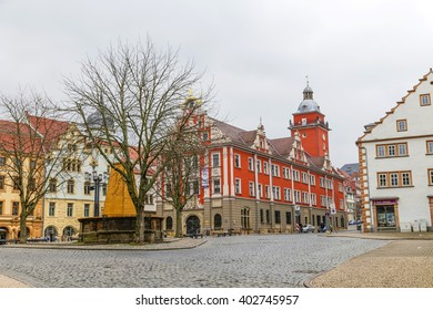 GOTHA, GERMANY - MAR 25, 2016: scenic view to old town hall in Gotha. The grand renaissance building was erected between 1567 and 1574.
