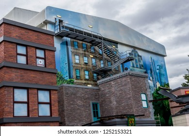 GOTHAM CITY, MOVIEWORLD, AUSTRALIA -11th OCTOBER 2018:-Gotham city is overrun with villians and superheroes