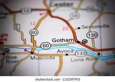 Gotham. Wisconsin. USA on a map