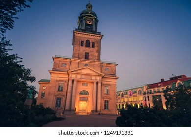 Gothenburg Cathedral at night. Gothenburg, Vasstergotland and Bohuslan, Sweden.