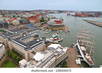 Gothenburg city in Sweden. Aerial view with Gota Alv river, harbor and Opera House.