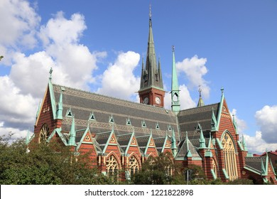 Gothenburg city in Sweden. Olivedal district landmark - Oscar Fredriks Kyrka (Oscar Fredrik Church). Neo Gothic architecture style.