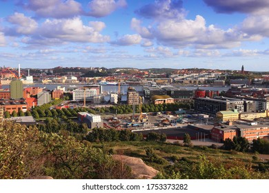 Gothenburg city in Sweden. Skyline with Gota Alv river.