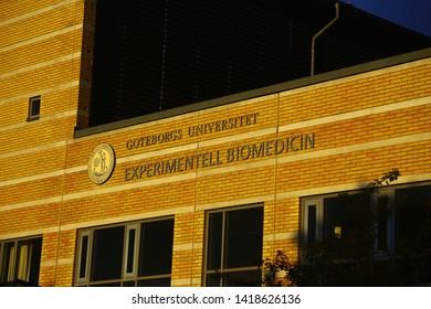 Gothenburg, Västra Götalands County/Sweden - 06 07 2019: Sahlgrenska university hospital, experimental biomedicine, experimentell biomedicin at Medicinarberget in Gothenburg, Sweden
