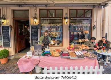 GOTHENBURG - NOVEMBER 17: A café serves coffee outdoors on November 17, 2013 in Haga, Gothenburg. Haga is a historic residential area, which has become fashionable and popular among tourists.