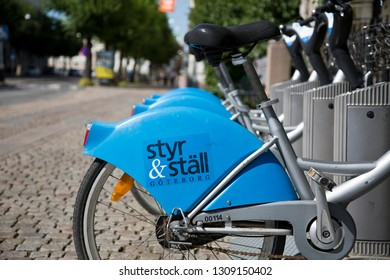Gothenburg, Sweden - 07/19/2017: Bixi Bicycles for rent at a docking station. Styr och  bikes is a public bike sharing system launched in Gothenburg in 2008.