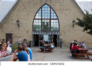 Gothenburg, Sweden - 07/19/2017: The famous food hall Feskekörka in Gothenburg where on of the best selection of seafood in Sweden can be found.