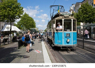 GOthenburg, Sweden - 07/19/2017: Passanger waiting to get on/off the tram in Gothenburg.