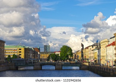 Gothenburg, Sweden - 21 April 2018 - A view of the Gothenburg city river on a sunny day.