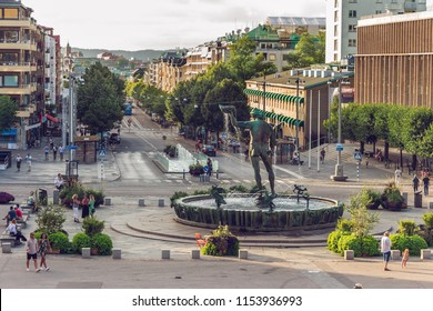 Gothenburg, Sweden - 4 August 2018: The iconic statue of Poseidon at Götaplatsen in Göteborg. This sculpture by Carl Milles has become a symbol for Gothenburg.