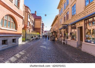 Gothenburg, Sweden - April 14, 2017: Haga District in old town of Gothenburg, Sweden