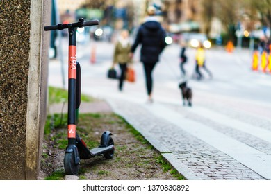 Gothenburg, Sweden - April 3, 2019: Voi Scooter ride by online app, they can any street on town Centre of Goteborg