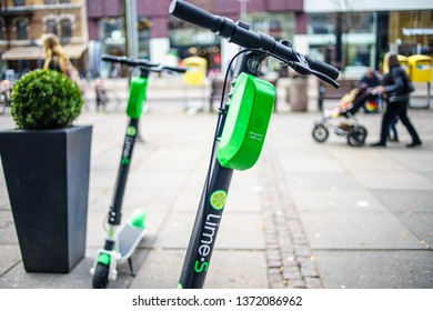 Gothenburg, Sweden - April 6, 2019: Lime Scooter ride by online app, they can any street on town Centre of Goteborg