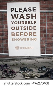 GOTHENBURG, SWEDEN - AUGUST 08, 2016: After the race of the competition Toughest??. Toughest is the largest and leading obstacle course race in the Scandinavian countries.