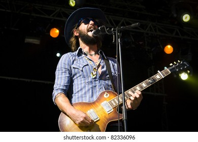 GOTHENBURG, SWEDEN - AUGUST 14: Ben Bridwell of Band of Horses performs onstage at the Way Out West festival August 14, 2009 in Gothenburg, Sweden