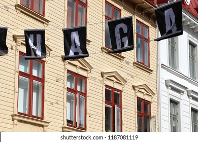 GOTHENBURG, SWEDEN - AUGUST 26, 2018: Haga district sign in Gothenburg, Sweden. Gothenburg is the 2nd largest city in Sweden.