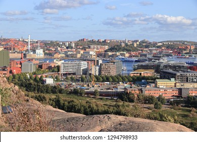 GOTHENBURG, SWEDEN - AUGUST 26, 2018: City skyline view with Lindholmen and Masthugget districts of Gothenburg, Sweden. Gothenburg is the 2nd largest city in Sweden.