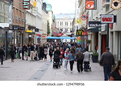 GOTHENBURG, SWEDEN - AUGUST 26, 2018: People shop at Kungsgatan street in Gothenburg, Sweden. Gothenburg is the 2nd largest city in Sweden with 1 million inhabitants in the metropolitan area.