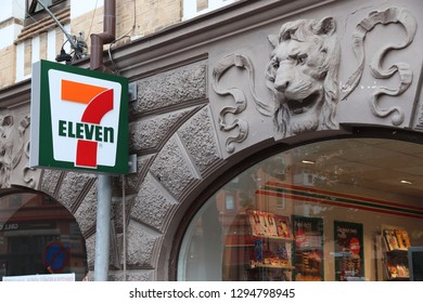 GOTHENBURG, SWEDEN - AUGUST 26, 2018: 7-Eleven convenience store in Gothenburg, Sweden. 7-Eleven is world's largest licensor of convenience stores, with more than 46,000 shops.