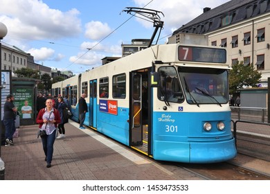 GOTHENBURG, SWEDEN - AUGUST 26, 2018: Blue tram in Gothenburg, Sweden. Gothenburg has largest tram network in Sweden with 160 km of single track.