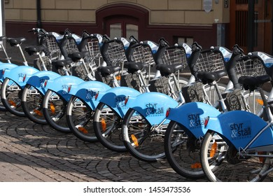 GOTHENBURG, SWEDEN - AUGUST 26, 2018: Bicycle sharing station of Styr & Stall in Gothenburg, Sweden. Gothenburg is the 2nd largest city in Sweden.