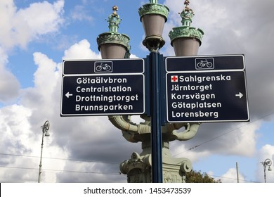 GOTHENBURG, SWEDEN - AUGUST 26, 2018: Bicycle route direction sign in Gothenburg, Sweden. Gothenburg is the 2nd largest city in Sweden.
