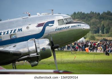 "Gothenburg, Sweden - August 29 2010: Douglas DC-3C ""Daisy"" SE-CFP at Gothenburg Aero Show"