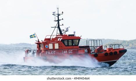 Gothenburg, Sweden - August 29, 2015: Swedish pilot boat, Pilot 746 SE in the port of Gothenburg